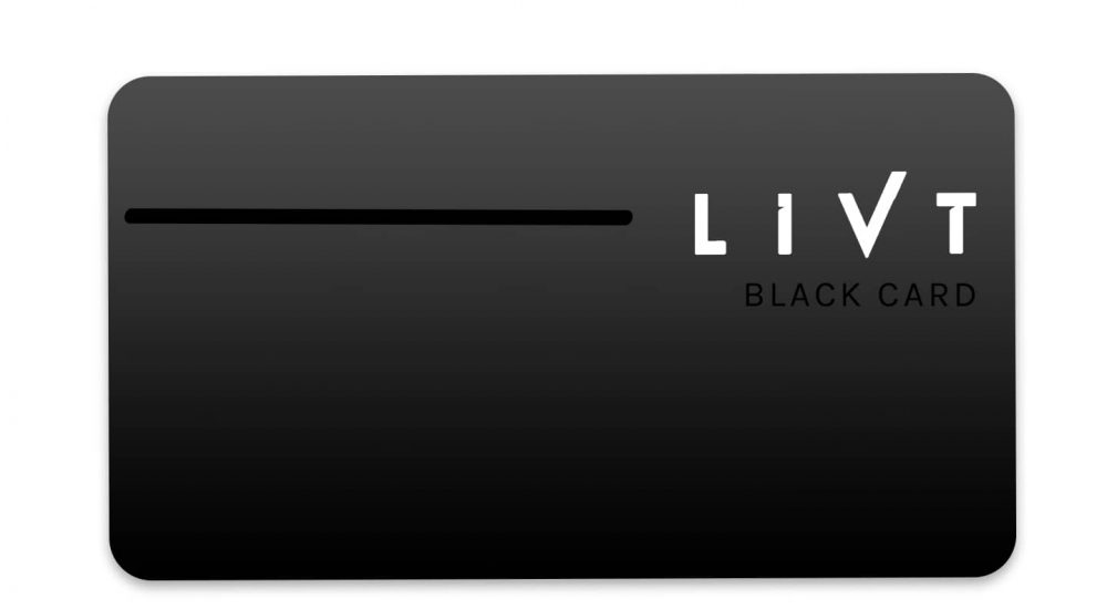 The LIVT Black Card is a black membership card with the LIVT logo in white. It is one of the four membership card options LIVT offers. | Membership Card | LIVT Membership | Private Aviation Membership